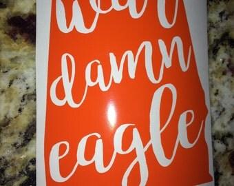 Auburn Yeti Decal - War Damn Eagle Yeti Decal - Auburn Sticker - Auburn Car Decal - Auburn Tigers Yeti - Auburn Decal - WDE Vinyl Decal