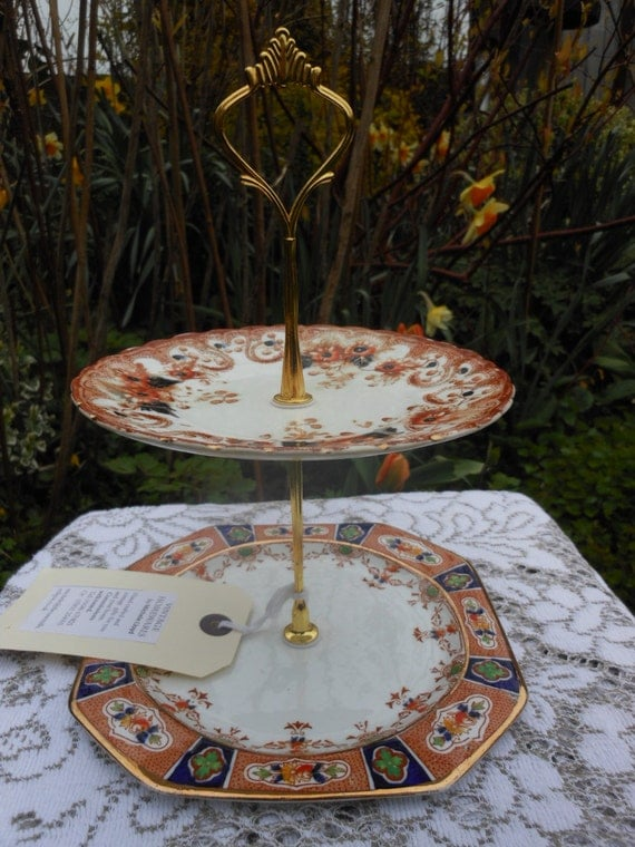 SALE 20% Off.....IMARI Vintage Cake Stand - Sandon - Art DECO - 2 Tier Mismatched - Jewellery - Shabby Chic - Afternoon Tea - China plates