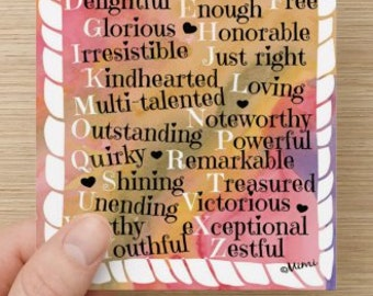 ABCs of Me~set of 15 post cards the same design~affirmations~positivity cards~self-love, you are amazing, women, girls, self-esteem builder