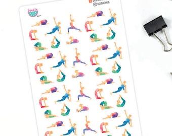 Watercolor Yoga Planner Stickers, Yoga Day Stickers, perfect for Planners, Erin Condren, Plum Paper, Happy Planner, Filofax, Kikki.k...