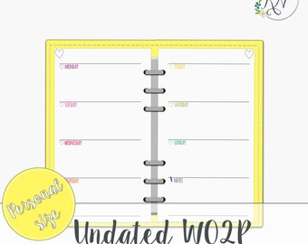 Personal planner inserts, Undated weekly planner, Filofax Planner Printable Instant Download