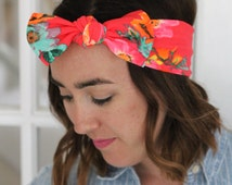 Bright Neon Floral Bow Boho Turban Head Wrap, Womens Head Wrap, Bow Headband, Floral Head Wrap, Summer Headband, Fitness Headband