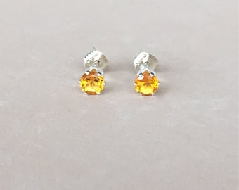 genuine citrine 4mm faceted round stud earrings with 925 sterling silver setting and post - prong studs - citrine studs - citrine earrings