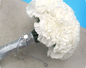 Romantic Wedding Bouquet - Snow White Carnation Wedding Bouquet, Bridal Flowers, Keepsake Bouquet