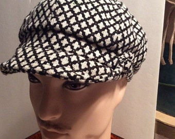 50% Off Sale Vintage Basiquenti Houndstooth Hunting, Driving, Newsboy,Cabbie Hat/Cap