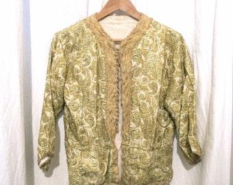 handmade Vintage Waistcoat Bolero Style with Gold Embrodery