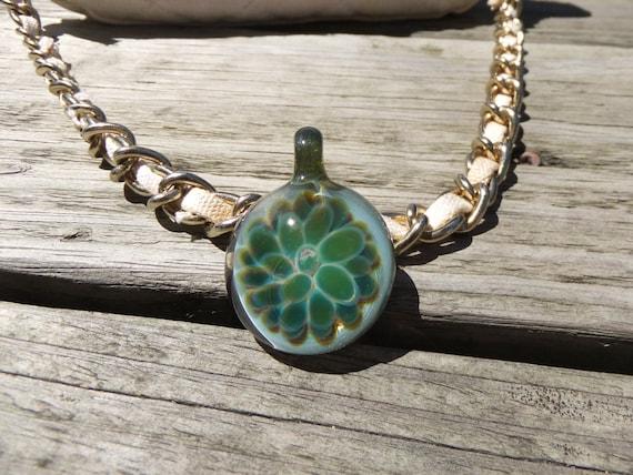Green Hand Blown Glass Pendant Heady Glass Pendant Heady Pendant Boro Pendant Glass Necklace Lampwork Bead Boro Glass Pendant necklace