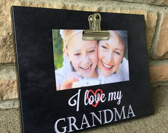 Grandparents Picture Frame Gift, Personalized Picture, Gift For Grandma, Grandparents Gift, I Love My Grandma, 8x10 Photo Board With Photo C