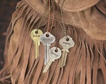 Vintage Ornate Key Necklace | Hand Stamped Vintage Boho Jewelry