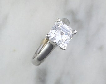 Princess Cut Diamond Solitaire Engagement Ring - 6.5mm to 7mm Stone - 14K White Gold or Platinum - Affordable Engagement Setting