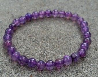 Purple Dragons Vein Agate Bracelet 6mm Meditation / Reiki / Yoga