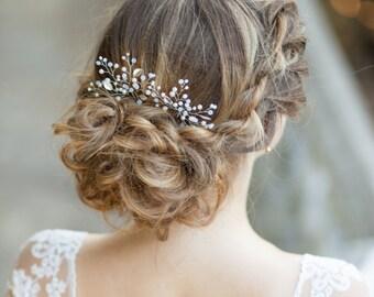 Bridal hair pins Leaf wedding hair pins Silver bridal hair pins Hairpins decorated leafs and pearl sprigs Crystal bridal hair pins