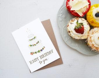 Flowery Cake Happy Birthday Card