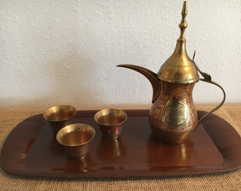 Vintage Brass Turkish Coffee Dallah Etched Pot with 3 Cups