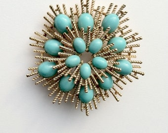 Vintage Avon Atomic Starburst Brooch Signed Gold Tone and Faux Turquoise