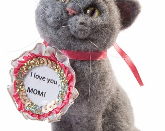 gift for mom British shorthair cat  to buy, a beautiful cat Fluffy cat,little kitten,dry felting cat,sculpture, statue cat,mothers Day