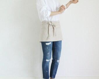 Linen Short Tool apron,Beige