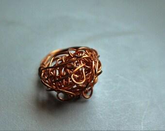 70s Retro Copper Wire Art Cluster Ring sz 8