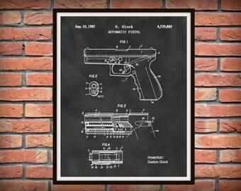 Patent 1985 Glock Pistol - Art Print - Poster -  Fire Arm - Military Weapon - Wall Art - Automatic Hand Gun