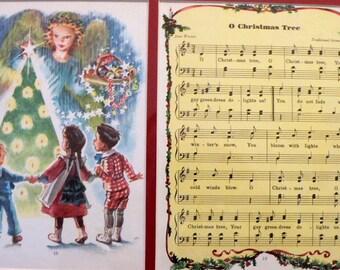 """1946 Christmas Carol Music """"O Christmas Tree"""" Matted Vintage Print"""