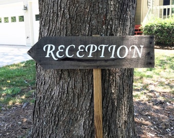 Wedding Signs Wood, Wedding Arrow Sign, Wooden Wedding Signs, Reception Sign, Wood Wedding Decor, Custom Arrow Signs, Rustic Wedding Signs