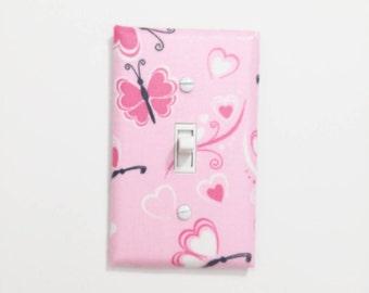 Pink Butterfly Light Switch cover, Pink Nursery, Butterfly Decor, Butterfly Wall Decor, Butterfly Art, Butterfly Bedroom, Baby Girl Nursery