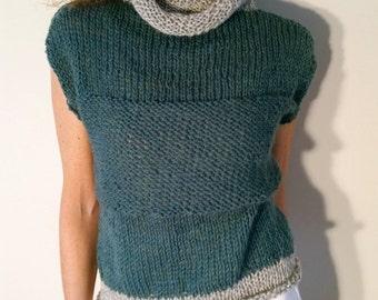 Womens sweater, womens top, knit top, Ultra fine knit mesh, 100% wool lightweight green and heather gray sweater