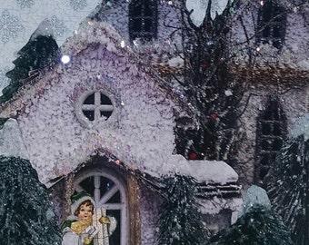 Santa Visit Card- Blank,Holiday,Glitter,Collage,Santa Claus,Girl,Snow,House,Handmade,Greeting Card,Christmas Card,Chimney,Snowflakes,Sparkle