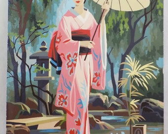 Vintage Paint by Number Geisha Girl 16 x 20