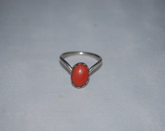 Sterling silver ring size 5.5 with coral.