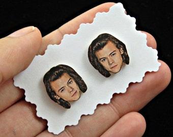 Harry styles earrings - one direction earrings - one direction jewelry - 1D - face earrings