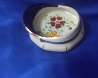 Unusual Pottery Cap Trinket Dish in Blue & White with a Flower Pattern