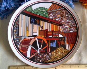 Old Grist Mill Plate. Memphis State University's School Of Fine Art 10th Aniversary Winner. Limited Edition Plate Of 550. 1978.
