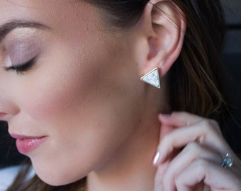 Marble Studs, Marble Geometric Earrings, White Howlite, Marble White Turquoise, Geo Shape Studs, Marble Earrings, White Turquoise,