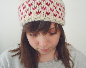 Knit Winter Headband Earwarmer Fair Isle Red Pink Valentine Hearts Chunky   THE SWEETHEART   Made to Order