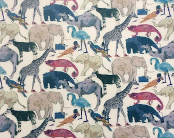 "NEW Q. For The Zoo PRINT!!! Queue for the Zoo G white blue pink grey fat quarter 18"" x 26.5"" (45 cm x 67 cm) The Weavers Mill"