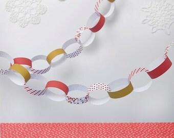 Red Christmas Paper Chain Kit - Christmas Decorations - Kid's Craft - Christmas Craft - Christmas tree garland