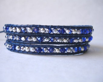 SALE - Leather Wrap Beaded Bracelet - 3x - Royal Blue Leather - Cobalt Crystals - Metallic Silver - Button - FREE SHIPPING - Gift For Her