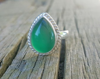 Green Onyx Ring - Gemstone Ring -  Gift for Her- Green Stone Ring -Onyx Jewelry - Sterling Silver Ring