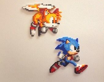 Sonic perler beads, Tails, bead sprite, 8 bit pixel art, Knuckles the Echidna, Hedgehog, Sonic 2, Sonic 3, sega genesis, robotnik,