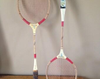 2 Vintage/ Antique Wooden Badminton Racquets