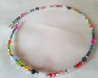 Beautiful rainbow crystal wire choker necklace.