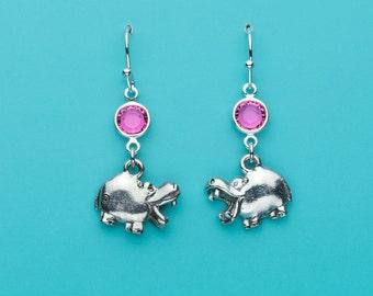 Cute Hippo Earrings, Pink Crystal Earrings, Hippopotamus Earrings, Animal Charms, Dangle Earrings, Gifts for Her, 98