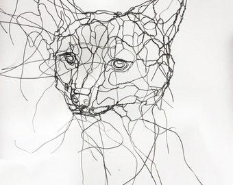 Fox Cub Mask Wire Wall Art Sculpture by Elizabeth Berrien