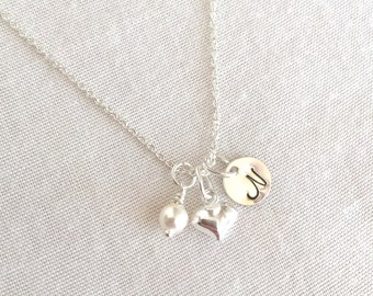 Little Girl Heart Initial Necklace, Child Necklace, Sterling Silver, 14K Gold Fill, Rose Gold, Delicate Necklace, Heart Puff Necklace