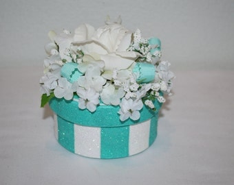 """Floral Gift Box, Decorated Box with Flowers, Unique Gift Box, Glittered Stripes, Ribbons, """"Engagement Ring"""" Box, Keepsake Box, Jewelry Box"""