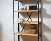 Standing shelf * Claproth * - from raw steel and reclaimed planks