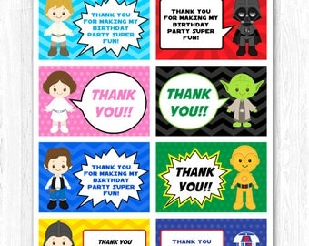 Star Wars Thank You Tag, Star Wars Thank You Card, Star Wars Thank you Label, Star Wars Thank you Note