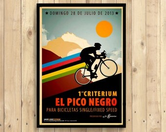 Cycling Print El Pico Negro - Cycling Poster Bicycle Bike Poster Sport Home Decor   Reproductiont