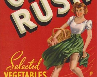 "Crate Label Original ON RUSH Vegetable Crate Label 6.75"" x 9.50"" Vintage"